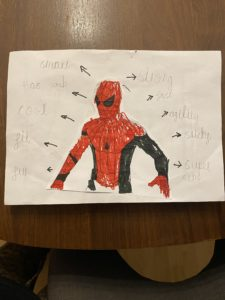 A drawing is pictured of Spider-Man completed by a Bearsted student. The drawing has different attributes of the character written in pencil around it.